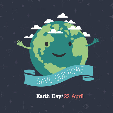 cartoon earth: Earth day, 22 April. Save our home. Cartoon Earth illustration. Ecology concept.