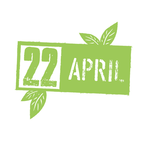 green sign: 22 April Typographic design for Earth Day. Concept Lettering With Green Leaves. Vector Template, isolated