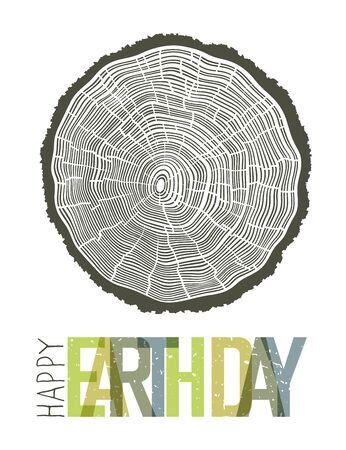 rings on a tree: Happy Earth Day Design Concept. Tree rings symbolic illustration