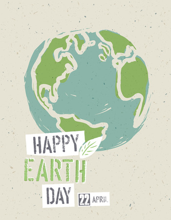 earth: Happy Earth Day Poster. Earth on the recycled paper texture. 22 April