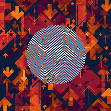 textur: Arrows Chaotic Abstract Background with Circle Shape in Center.