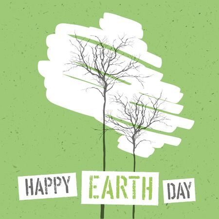 green paper: Design for Earth Day. Concept Poster With Trees. On recycled paper texture Illustration