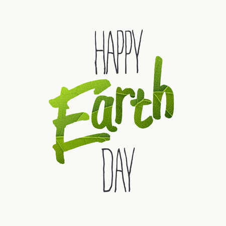 Happy Earth Day Typography. With green leaf veins texture. Template for Celebrating card