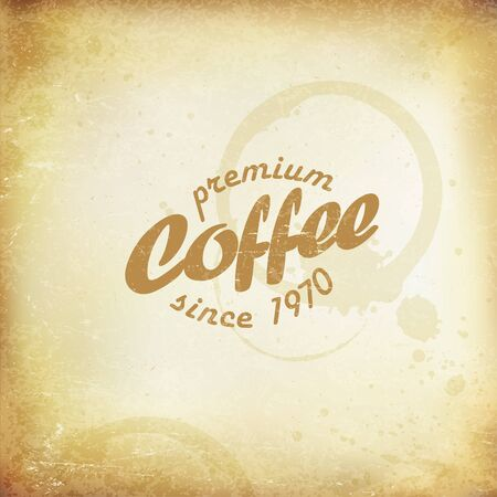 textur: Vintage Coffee Poster. Coffee stains and rings. On old paper texture.