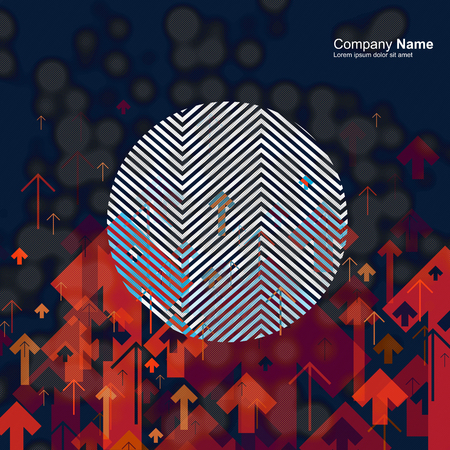 textur: Science or Business Abstract Background. Arrows Up with Contrast Circle Shape and Blurred Dots Composition. Good for annual reports, brochures, covers, etc.