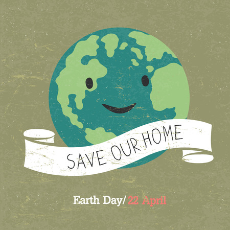cartoon earth: Vintage Earth Day Poster.