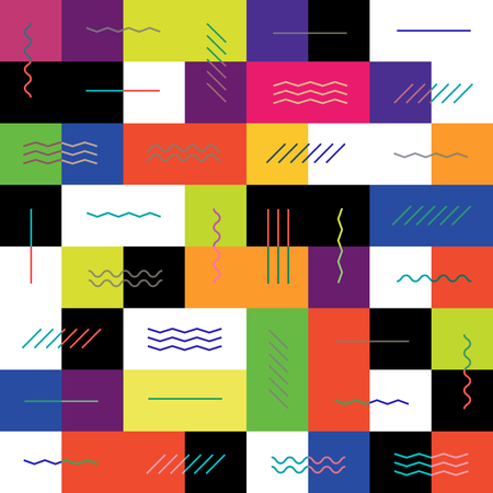 vintage wave: Geometric colorful background. Illustration