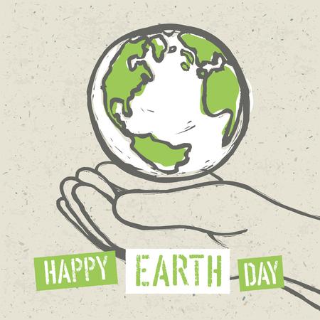 earth hands: Earth symbol in hands. Vector Illustration