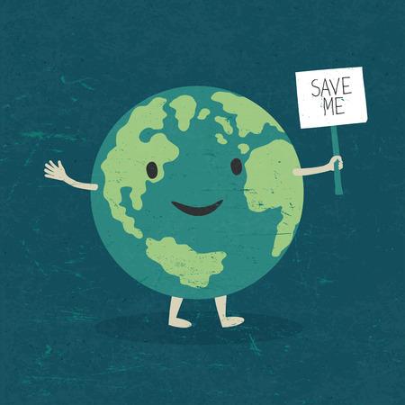 planeta verde: Ilustración de dibujos animados de la Tierra.
