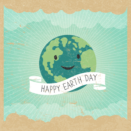 textur: Vintage Earth Day Poster. Cartoon Earth Illustration. Rays, clouds, sky. Text on white ribbon. On old paper texture. Grunge layers easily edited. Illustration