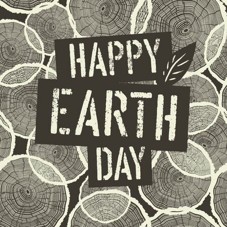 rings on a tree: Happy Earth Day Logotype on Tree Rings Seamless Background. Illustration