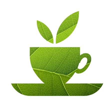 green tea leaf: Green Tea. Leaf Veins Texture Shaped. Isolated template Illustration
