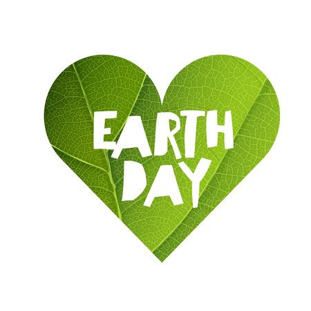 logo recyclage: Earth Day Concept design. Heureux modèle de logotype Jour de la Terre. Green Leaf Veins Texture en forme de coeur. modèle isolé Illustration