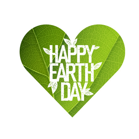 Earth Day Concept Design. Happy Earth Day logotype template. Green Leaf Veins Texture Heart Shaped. Isolated template