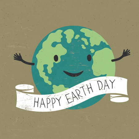 """planeta tierra feliz: Tierra de dibujos animados con la cinta y el texto. sonrisa planeta. palabras """"Feliz Día de la Tierra"""". En la vieja textura del papel reciclado. capas grunge fácilmente editadas."""