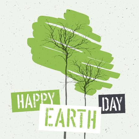 papel reciclado: El diseño tipográfico para el Día de la Tierra. El concepto de Póster con hojas verdes. Plantilla de vectores. En la textura de papel reciclado Vectores