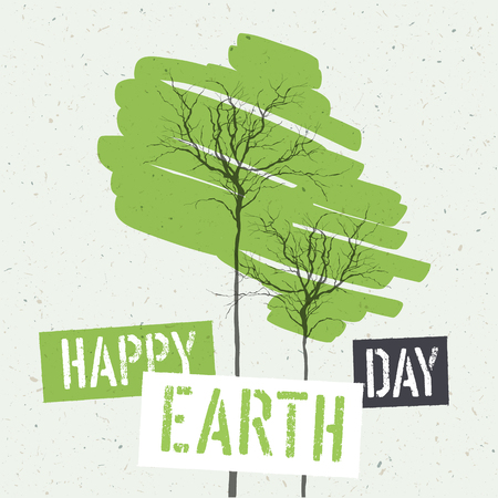 green paper: Typographic design for Earth Day. Concept Poster With Green Leaves. Vector Template. On recycled paper texture Illustration