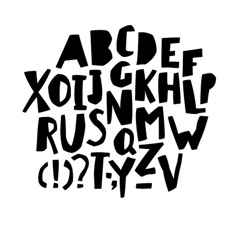 cut: Paper Cut Alphabet. Black  letters. Capital letters.