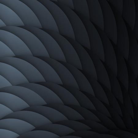 escamas negras. Fondo geométrico abstracto con efectos de luz.