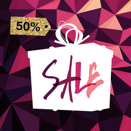 triangular banner: Sale banner on Low Poly Dark Pink Background. Sale template. Big sale. Super Sale and special offer. Triangular