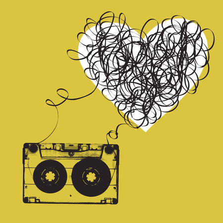 tangled: Audiocassette with tangled tape. Heart shaped Illustration