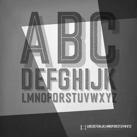 film noir: Old film noir styled alphabet.