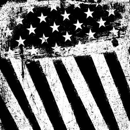 black american: American Flag Background. Grunge Aged Vector Template. Monochrome gamut. Black and white. Grunge layers can be easy editable or removed.