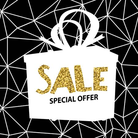 foil gold: Sale banner on Low Poly Black Background. Sale template. Big sale. Super Sale and special offer. Triangular. Gold.