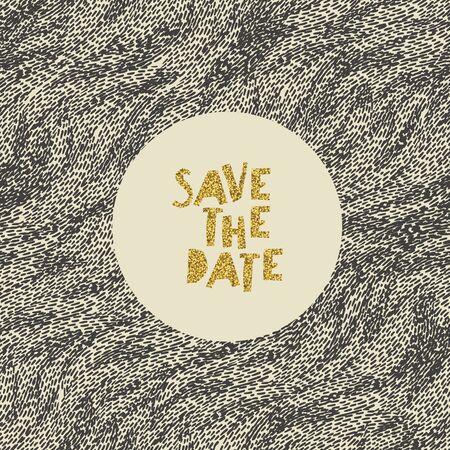 Hand gezeichnet Speichern Sie die Datumskarte. Goldfolie Buchstaben Effekt.