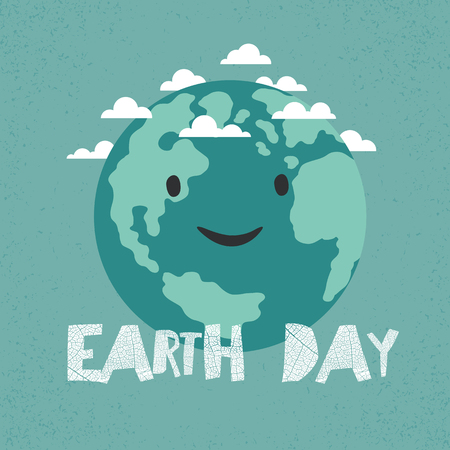 old postcards: Earth Day Poster. Earth Illustration.  Celebration Card template Illustration