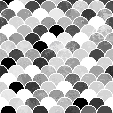 Fish scales monochrome Seamless Pattern Illustration