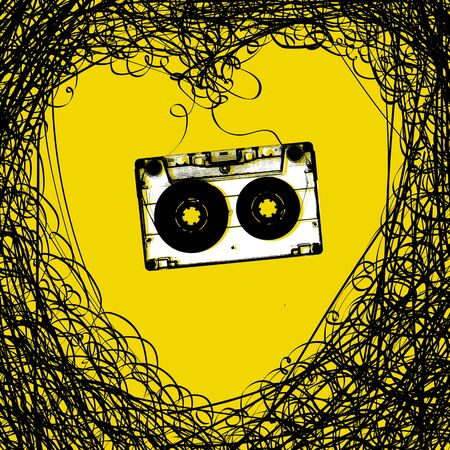 micro recording: Concept illustration. Retro music background. Heart from tape and audiocassette Illustration