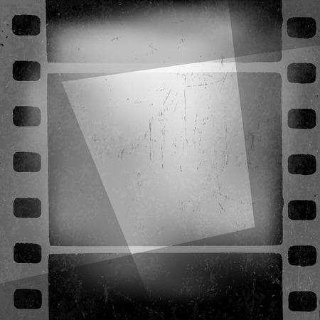 for design: Grunge monochrome filmstrip with space for text . Film noir, old cinema background design template Illustration