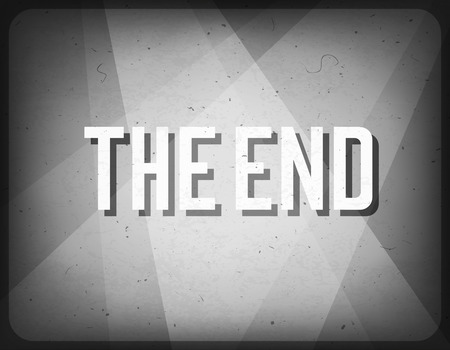 Movie ending screen. Cinema background.