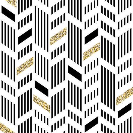 black texture: Seamless Chevron Pattern. Art Deco Abstract Background. Glittering Gold Foil