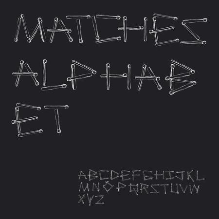 Matches. Matchstick alphabet. English alphabet made of safety match