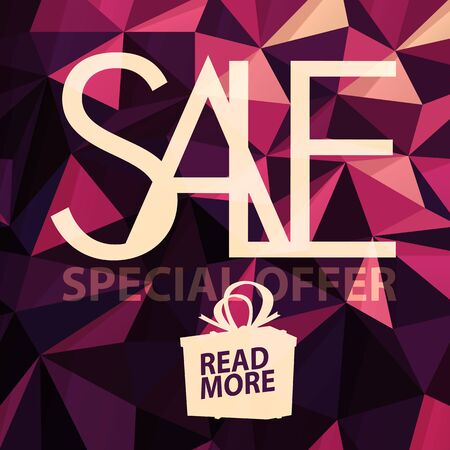 advertisements: Sale banner on Low Poly Bright Pink Background. Sale template. Big sale. Super Sale and special offer. Triangular Illustration