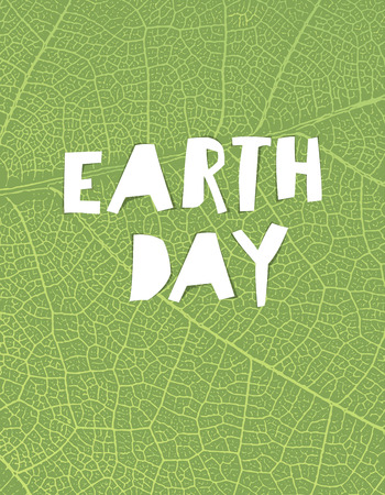 earth day: Nature background with Earth day headline. Green leaf veins texture. Paper cut letters.