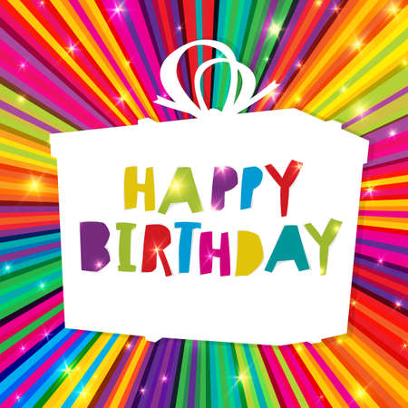 sunburst: Happy Birthday on colorful rays with gift box. Vector Template