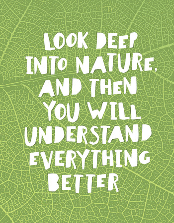 understand: Earth day quotes inspirational. Look deep into nature, and then you will understand everything better.. Paper Cut Letters.
