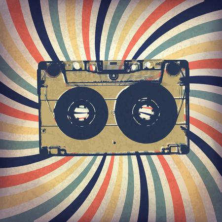 audio cassette: Grunge music background. Audio cassette illustration on rays
