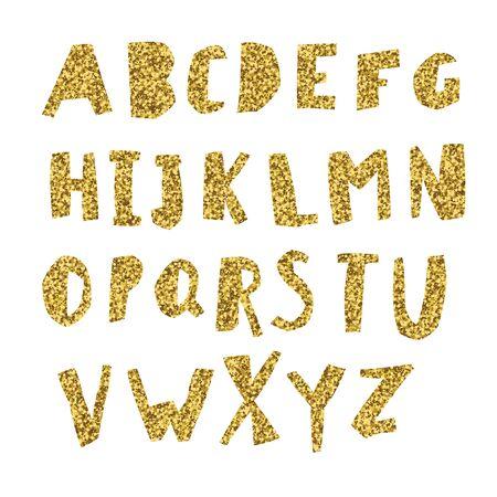 Gold Alphabet. Cut letters from golden foil.