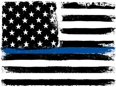 American Flag with Thin Blue Line. Grunge Aged Background. Monochrome gamut. Black and white.