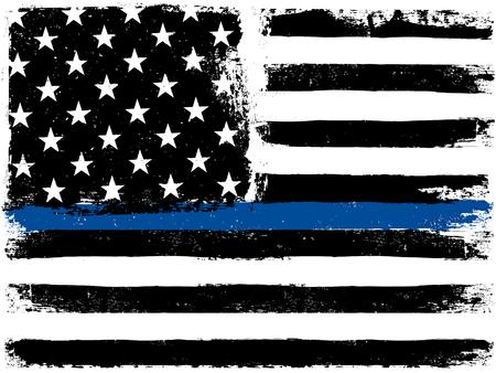 fila de personas: Bandera americana con Thin Blue Line. Fondo envejecido grunge. gama monocromo. En blanco y negro.