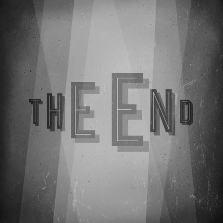 noir: The end. Film noir styled abstract screen. Old cinema background Illustration