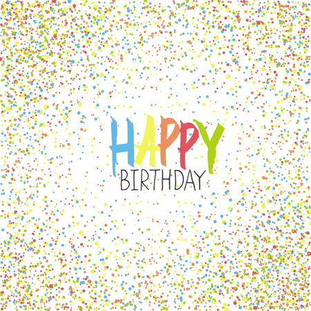chaotic: Happy Birthday Greeting On Colorful Chaotic Dots Background.