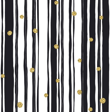 Black stripes seamless pattern and golden dots Vettoriali