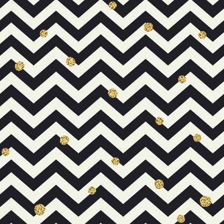 Chevron naadloos patroon. Zwarte zigzag lijnen en gouden stippen Vector Illustratie