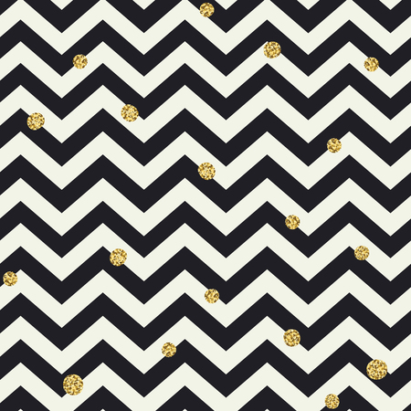 Chevron seamless pattern. Black zigzag lines and golden dots