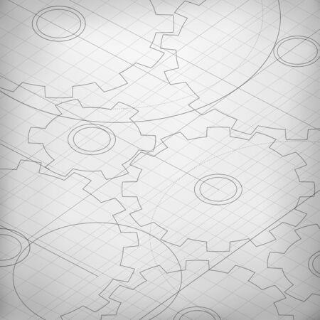 Blueprint di ruote dentate. Ingegnere e architetto di fondo. Tecnologia astratto. sfondo bianco e nero